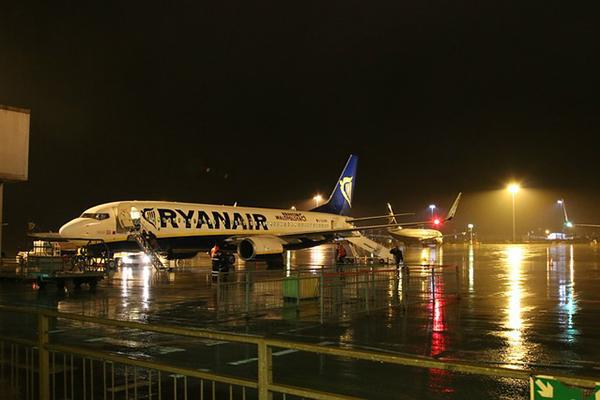 A Ryanair air plane sits on the tarmac of Stansted Airport in the United Kingdom
