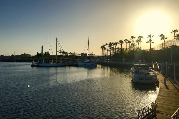 Boats parked alongside the docks in Long Beach, California