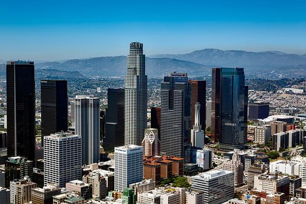 The crowded skyline of Los Angeles, California