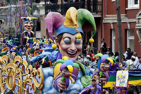 Revellers enjoy the entertainment as they celebrate Mardi Gras in New Orleans, Louisiana