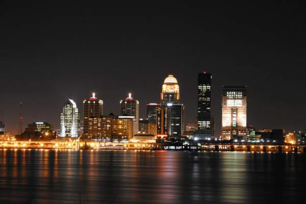 Louisville skyline by night.
