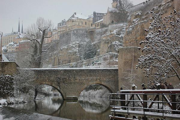 Luxembourg City is beautiful with a dusting of snow