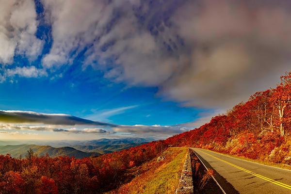 A tree-lined road in the Blue Ridge Mountains is painted a vibrant autumn red near Lynchburg, Virginia