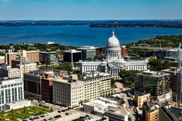 Madison, the capital city of Wisconsin, is known for the domed Wisconsin State Capitol.