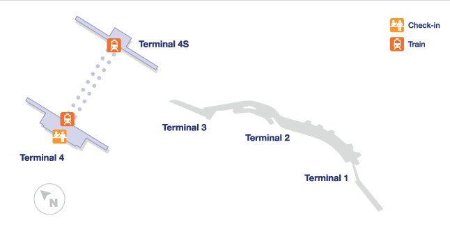 madrid airport terminal map