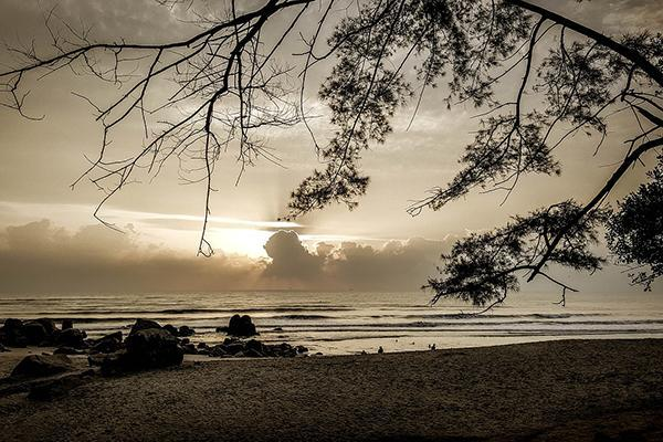 Teluk Beach at sunrise in Kuantan, Malaysia
