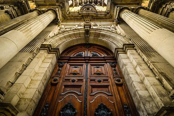 A Gothic-style door/entrance to a church in Malta