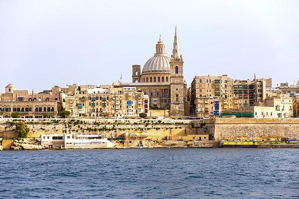 View of Basilica of Our Lady of Mount Carmel on the island of Malta