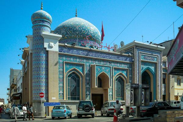 A mosque stands proudly in central Manama, Bahrain