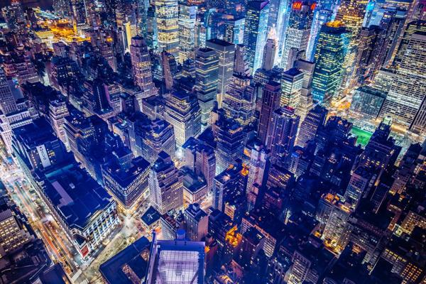 The bright and vibrant lights of Manhattan in New York