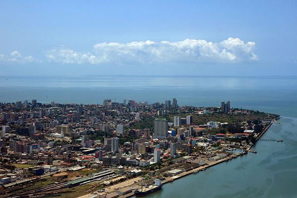 Aerial view of the coastal city of Maputo, Mozambique