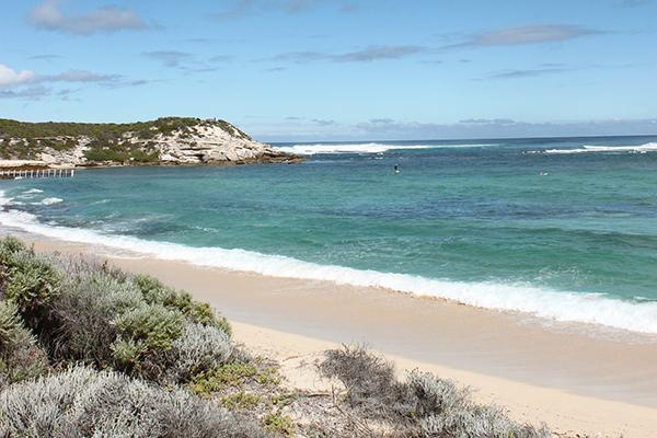 Waves crash the shore on a beach near Margaret River in Western Australia