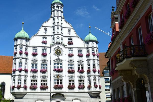 The flower-adorned Renaissance Town Hall in Memmingen, Germany