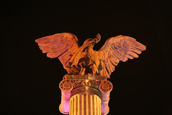 The statue of an eagle on a column at night in Aguascalientes, Mexico