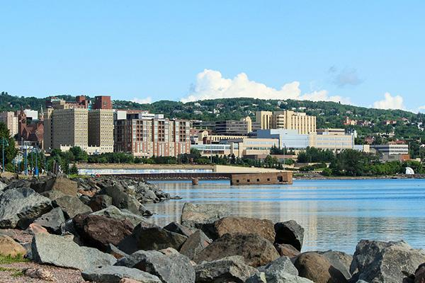 Waterfront buildings alongside Lake Superior in Duluth, Minnesota
