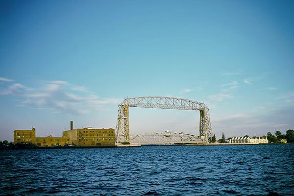 The iconic lift bridge stands over Lake Superior in Duluth, Minnesota