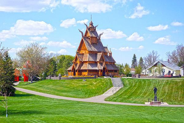 Stave Church at the Scandinavian Heritage Park in Minot, North Dakota