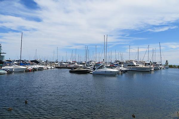 Boats fill the harbour at Port Credit Marina in Mississauga, Ontario, Canada