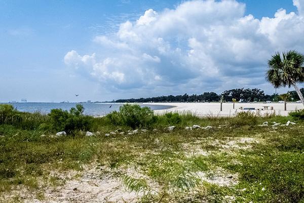 A balmy beach scene in Gulfport, Mississippi