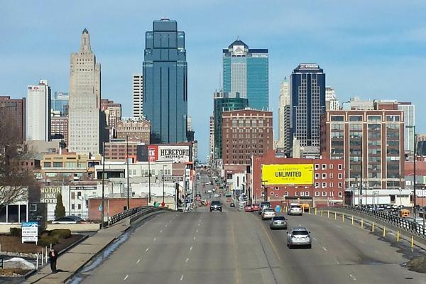 Traffic flows smoothly in and out of downtown Kansas City, Missouri