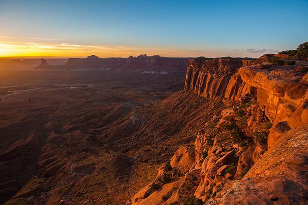 Sunset over glowing red canyons at Canyonlands National Park, Utah