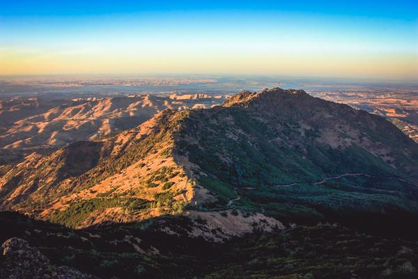 Mount Diablo in California stands tall in the hot sun on a clear day