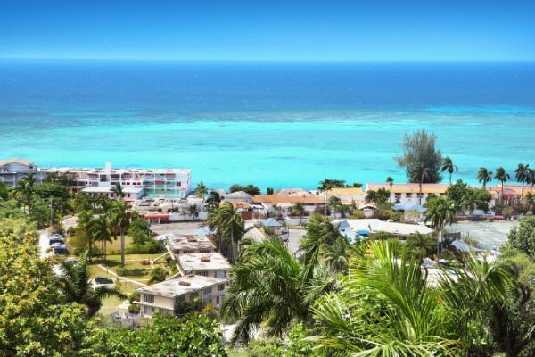 Montego Bay overlooks a bright blue ocean