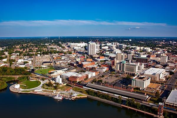 An aerial view of Montgomery, Alabama on a clear day