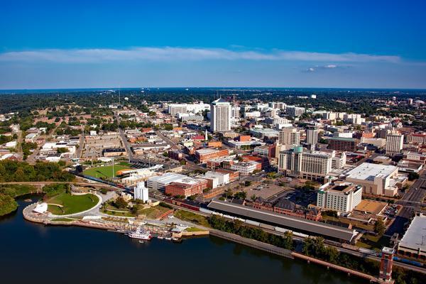 Blue skies shine down on downtown Montgomery, Alabama