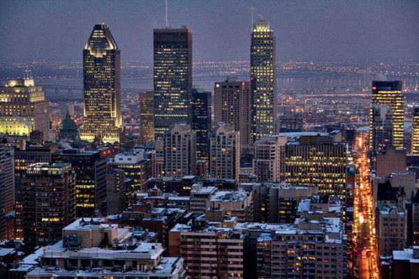The city skyline of Montreal by night.