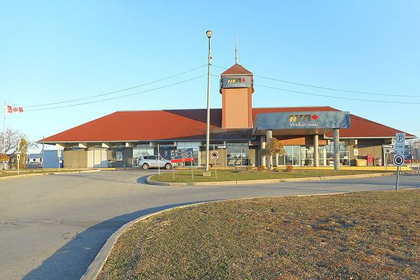 The Via Rail Station on a beautiful day in Dorval, Canada