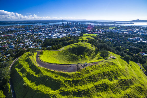 Looking from Mount Eden over Auckland.