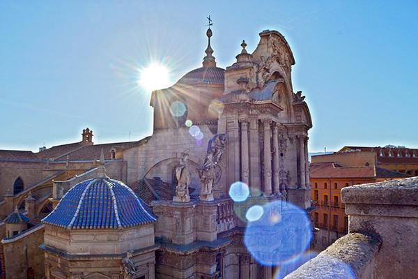 The Spanish sun shines down on the ornate Murcia Cathedral