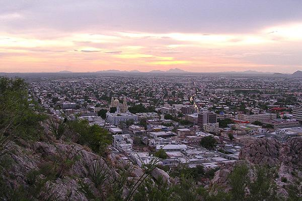 The expansive skyline of Hermosillo, Mexico at sunset