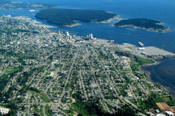 The cityscape of Nanaimo from above.