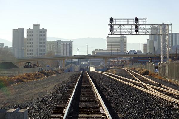 Railroad tracks leading into the city of Reno, Nevada