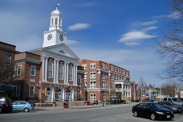 The quaint buildings of downtown Lebanon, New Hampshire