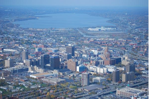 The city skyline of Syracuse.