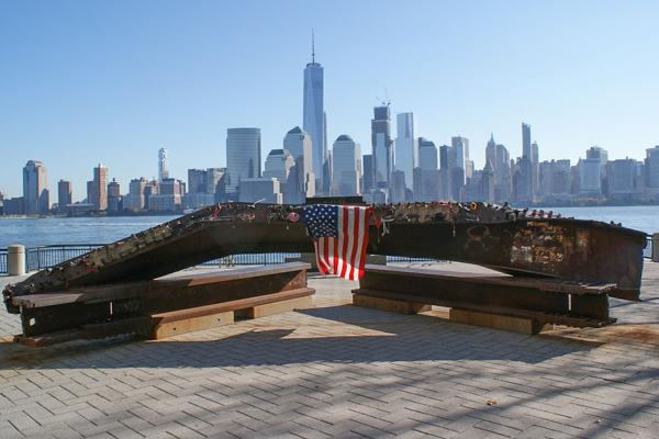 A 9/11 memorial sits in Jersey City across from downtown Manhattan