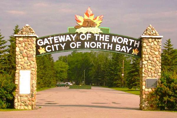"Welcome sign: ""Gateway of the North: City of North Bay"""