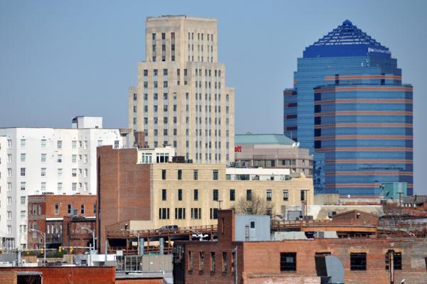 The skyline of downtown Durham, North Carolina stands proudly on a clear day
