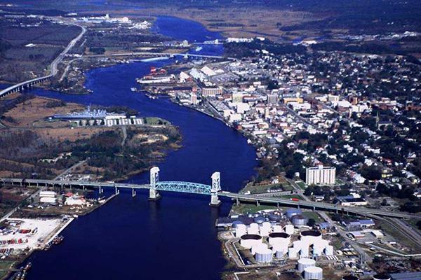Aerial view of Wilmington, North Carolina