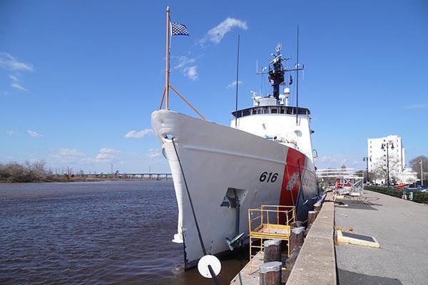 The U.S. Coast Guard docked up in Wilmington, North Carolina