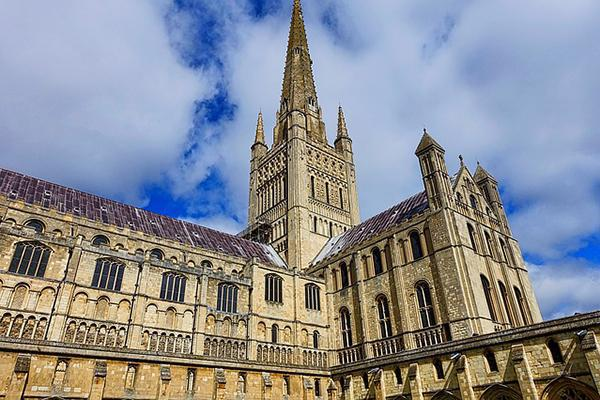 The Norwich Cathedral reaching into the sky in the United Kingdom