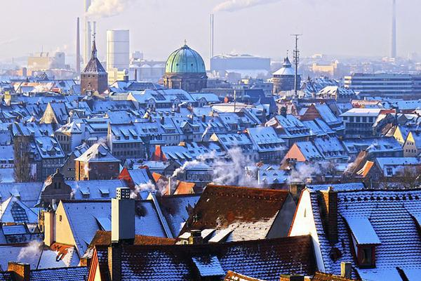 Snow-covered roofs in Nuremberg, Germany