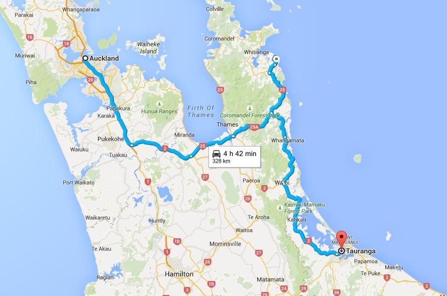 Tuckland to Tauranga Map