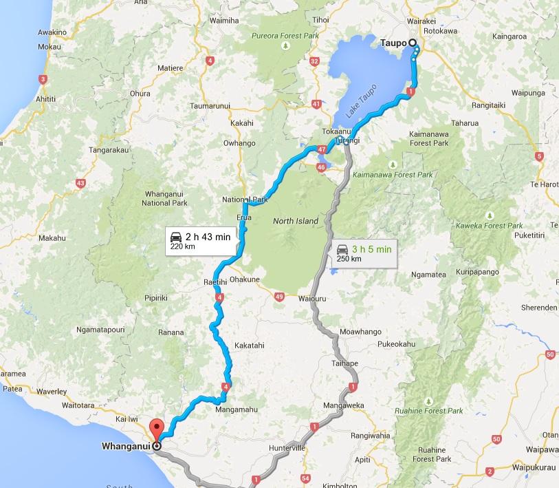 Taupo to Whanganui Map