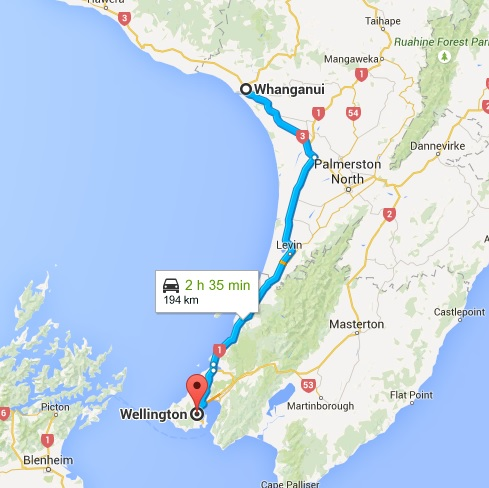 Whanganui to Wellington map
