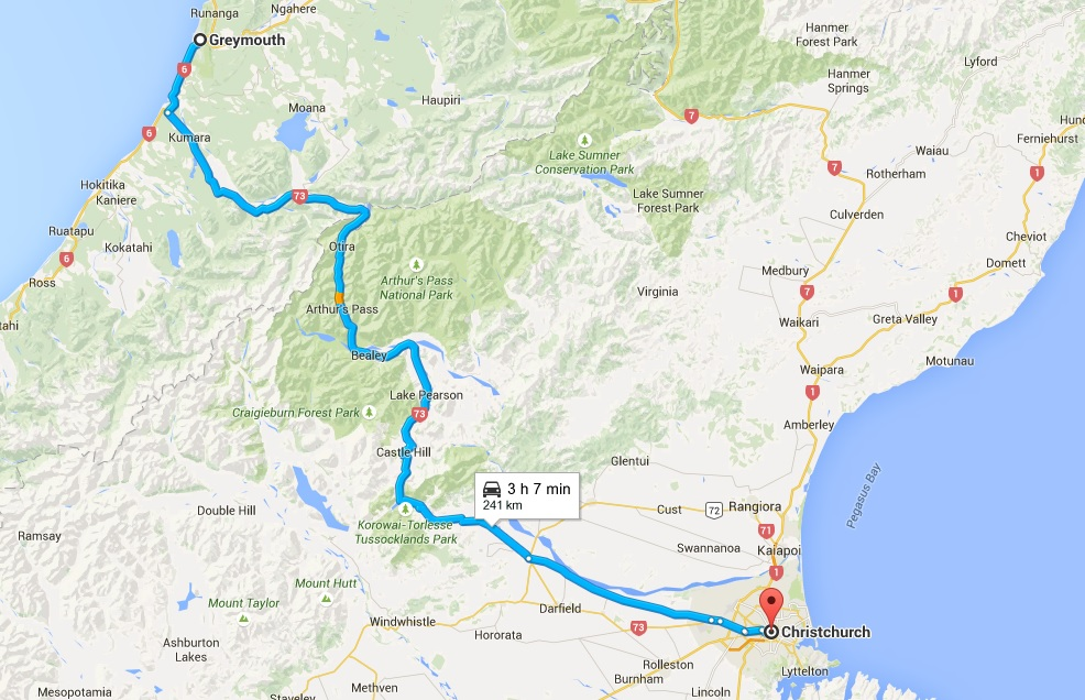 Greymouth to Christchurch