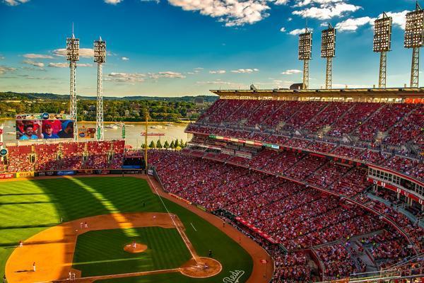 The sun casts a shadow on the Great American Ball Park in Cincinnati, Ohio